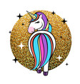 fantasy animal horse unicorn on golden ba vector image vector image