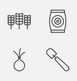 farm icons set collection of wheat fertilizer vector image