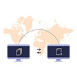 file transfer concept two computers transferred vector image