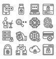 firewall security and protection icons set vector image vector image
