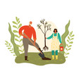 gardening grandfather and granddaughter girl vector image