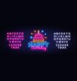 happy birthday neon text birthday vector image