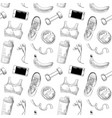 healthy lifestyle hand drawn seamless pattern vector image