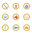 hunt camp icons set cartoon style vector image vector image