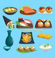 japane food sushi on plate sashimi roll or vector image