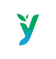 letter y leaves logo icon vector image vector image