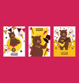 little bear showman set banners posters vector image