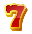 lucky seven red sign icon gambling casino slot vector image