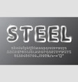 metal chrome alphabet steel vector image