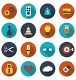 Modern flat icons collection with long shadow vector image