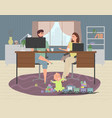 parents work at home at a computer and laptop vector image