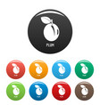 plum icons set color vector image vector image