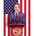 politician behind the podium making the report vector image vector image