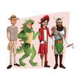 poster with set men in costume halloween vector image vector image