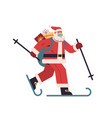 santa claus in protective mask skiing with gift vector image vector image