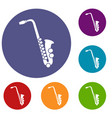 saxophone icons set vector image vector image