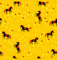 seamless pattern black horses on a gold field vector image vector image