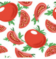 seamless pattern with red ripe tomato and greens vector image vector image