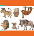 set cartoon funny wild animals characters vector image vector image