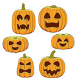set color pumpkins with faces vector image