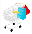 Shopping basket and bags vector image vector image
