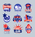 surf club logo templates set surfing club emblem vector image vector image