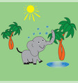 the elephant watered himself with water vector image vector image