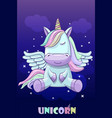 unicorn on a background night sky vector image
