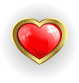 volumetric red heart with gold border vector image