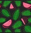watermelon and tropical leaves seamless pattern vector image vector image