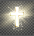 white cross with golden frame and shine symbol of vector image vector image