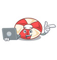with laptop swim tube character cartoon vector image