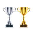 3d silver and golden cups set realistic trophy vector image vector image