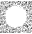 a lot of beautiful outline rosebuds in round frame vector image