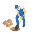 agricultural work isometric man digging soil vector image