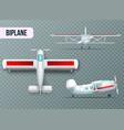 airplane views set transparent realistic vector image
