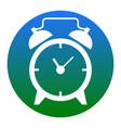 alarm clock sign white icon in bluish vector image vector image