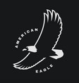 american eagle flying bird logo symbol on a dark vector image vector image