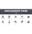 amusement park simple concept icons set contains vector image