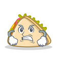 angry sandwich character cartoon style vector image