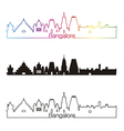 Bangalore skyline linear style with rainbow vector image vector image