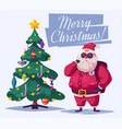 beautiful christmas tree and santa vector image vector image