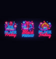 big neon signs for black friday sale vector image