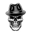 black and white of vintage sull in hat vector image vector image