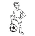 boy football player with ball vector image vector image