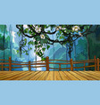 cartoon bridge on the background of dense jungle vector image vector image