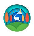 cartoon paper landscape deer vector image vector image