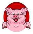 cartoon pig coming out of a red hole vector image
