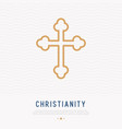 Christian cross thin line icon