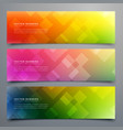 colorful abstract banners set of three vector image vector image